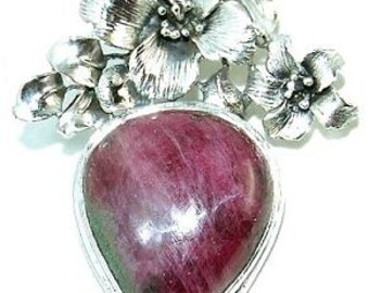 Sale: Ruby Zoisite and Sterling Silver Pendant