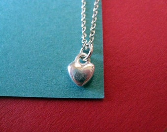 Tiny Heart Charm Sterling Silver Necklace