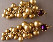 Golden Grape Earrings with Purple Stone