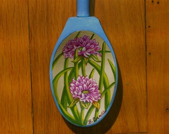 Hand Painted Vintage Wooden Spoon, Painted Kitchen Spoon, Wooden Spoon With Flowers, Painted Floral Spoon