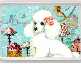 White Poodle Cakes Melamine Serving Party Tray Gift