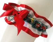Red/White Satin Firefighter's Garter-Fireman-Fire Truck-Badge Charm-Emergency Response-First Responder