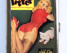 Pin up pinup Cat Cigarette Case Wallet Business Card Holder retro rockabilly