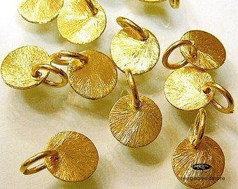 20 pcs 8mm Vermeil Gold Disc Charms Brushed Disc Top Drill Hole with Ring F163V