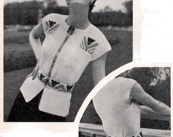 Vintage  Ladies Jerkin Top with Fair Isle Belt 1950 Vintage Knitting Pattern Email Pdf Digital Download