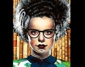 "Print 11x14"" - The Librarian - Bride of Frankenstein Classic Monsters Glasses Books Library Vintage Gothic Dracula Nerd Pin Up Pop Art Bats"