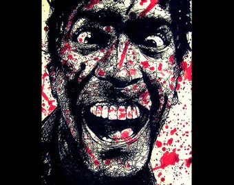 "Print 11x17"" - Ash Williams - Bruce Campbell Army of Darkness Evil Dead Horror Dark Art Blood Comedy Necronomicon Spooky Cult Pop Gothic"
