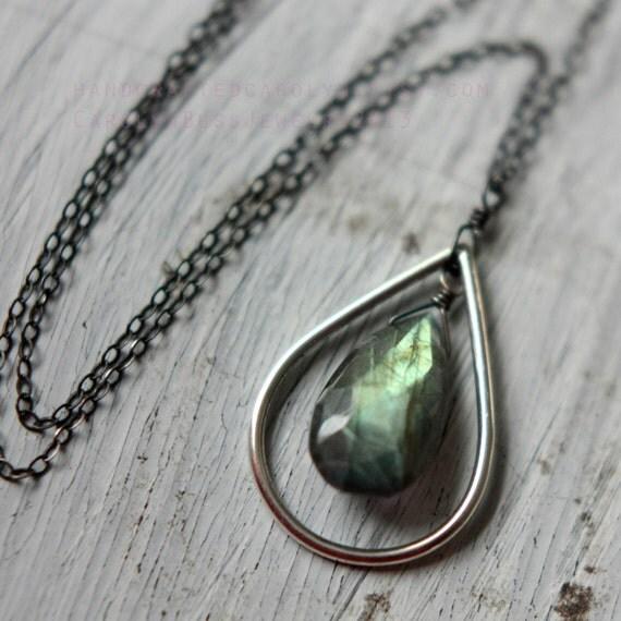 Labradorite Tears - Sterling Silver Drop and Chain - Gem Quality Labradorite Drop OOAK