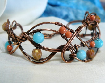 Copper Wire Weave Bracelet ~ Beaded Copper Bracelet ~ Beaded Copper Cuff Bracelet ~ Copper Wire Cuff Bracelet