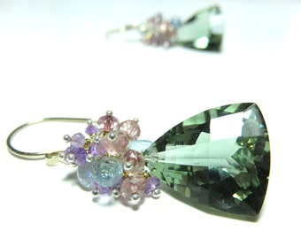 Green Amethyst Faceted Fanncy Cut Briolette and Sterling Silver Earrings