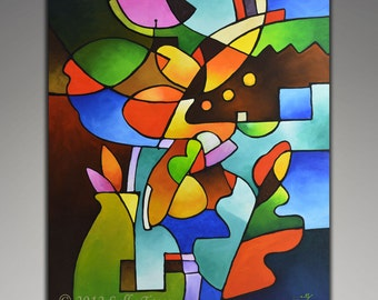 """Abstract Art, Cubist Art, Giclee on Canvas from my Original Abstract Still Life Geometric Painting """"Leaf and Vase"""" 24x30 inches"""