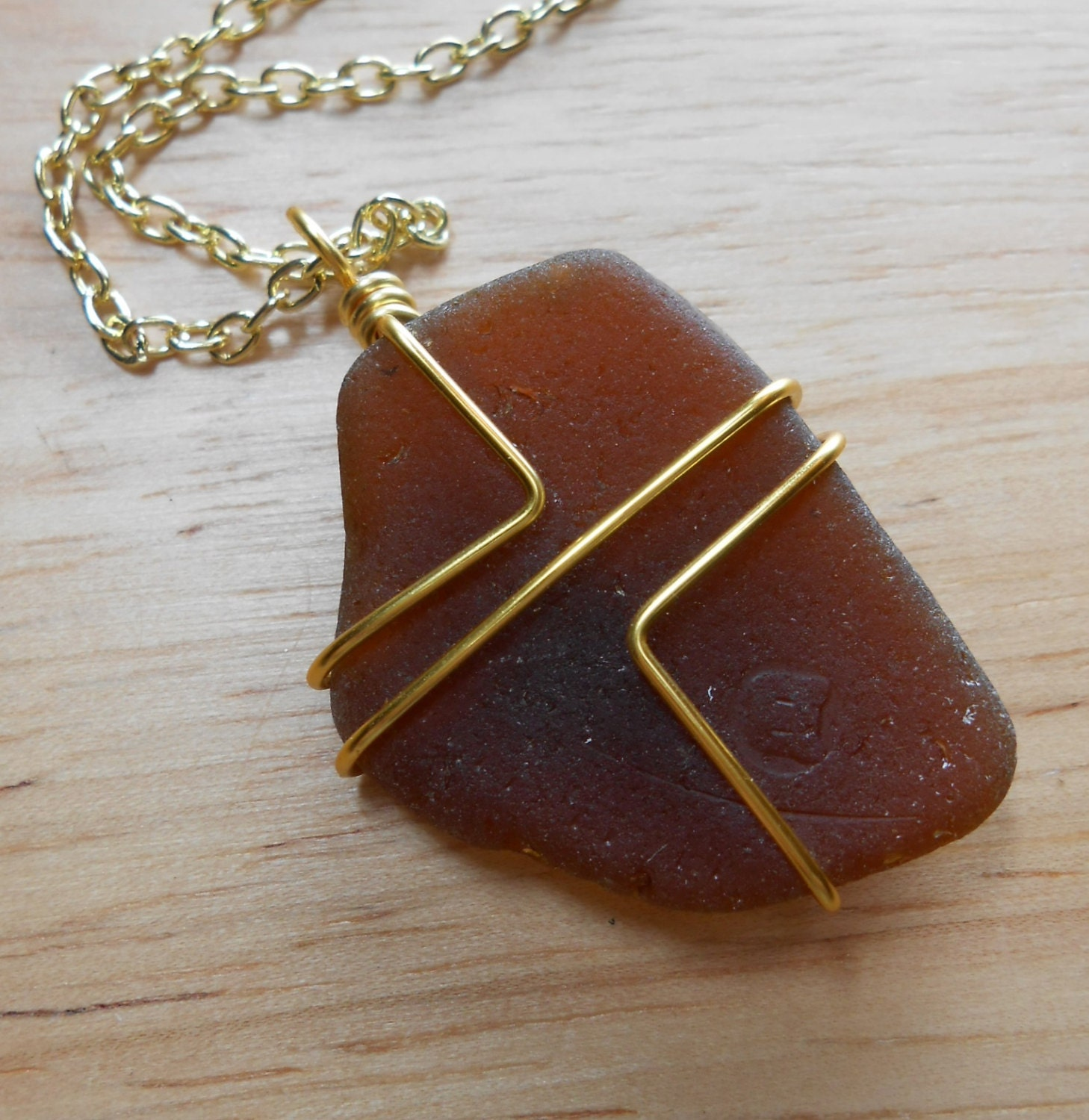 Beach Glass Jewelry Wire Wrapped Sea Glass Necklace IN THE