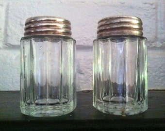 Vintage Glass and Silver Diner Style Salt and Pepper Shakers 2 1/2 Inches epsteam Kitchen Beach