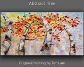 Art landscape painting Original large abstract Patchwork of colors, signature Aspen painting by Tim Lam 48x24