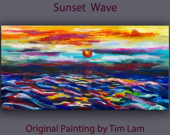 Original abstract sea art oil painting Sunset colorful wave Fiery sky on gallery wrap canvas Ready to hang by tim Lam 48x24