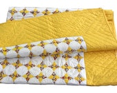 Vintage Quilt - Yellow Star Blanket - New and Unused - Bright and Beautiful - OOAK