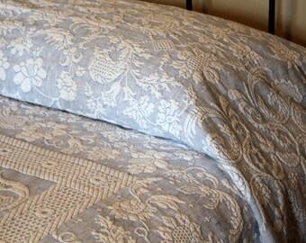 Blue Matelassé Blanket w/ Fringe - Bates Queen Elizabeth in Blue and White - Twin Spread - Full Bedspread