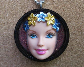 Tropical Barbie - upcycled bottle cap pendant - pink flowers