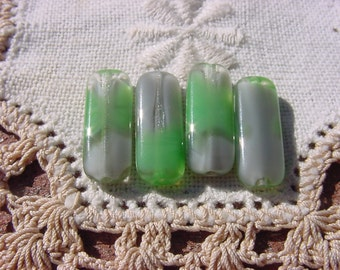 Kelly Green Fog Grey Givre Vintage Glass Beads