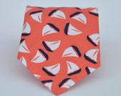 Coral and Navy Sailboat Men's Cotton Necktie