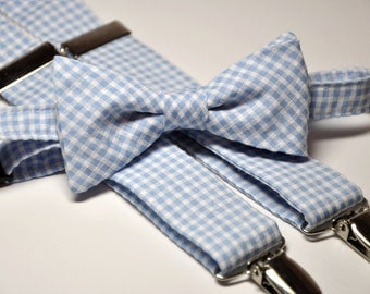 Light Blue Gingham Men's Bow Tie and Suspenders