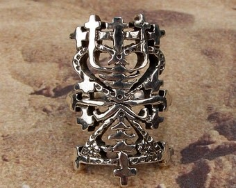 MAMAN BRIGITTE RING - Voodoo Vodou Loa Lwa Veve in 925 Sterling Silver - Made To Order in Your Size