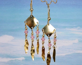 S A L E - MEDIEVAL - Primitively Hammered Brass Earrings With Swarovski Crystal Beads