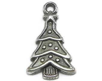 6 Christmas Tree Charms Silver Tone Metal (S253)