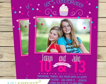 Twin Girl Birthday Invitation - Girl Joint Birthday Invitation - Sibling Birthday Invitation - Triplet Birthday Invite -  1 or 2 Photos