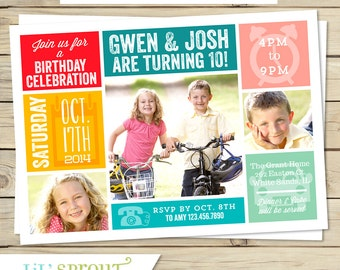 Sibling Twin Photo Birthday Invitation- You Pick Colors