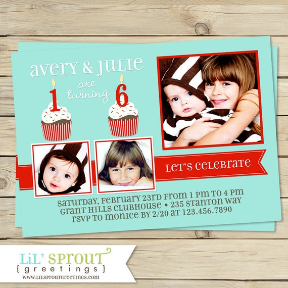 Dual Birthday Party Invitations - Printable Double Birthday Invite - You Pick Colors