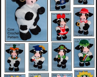 Cow/Bull Doll & Outfits Collection I Crochet Patterns