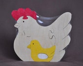 Hen with Chick and Egg Easter Puzzle Center Piece or Toy Wooden Hand Cut