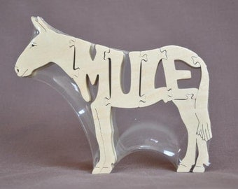 Mule Farm Puzzle Wooden Toy Hand  Cut with Scroll Saw
