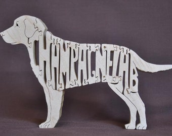 Champagne OR Fox Red  Lab Labrador  Dog Puzzle Wooden Toy Hand Cut with Scroll Saw
