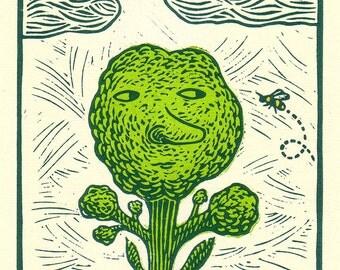 """SALE! 8 x 10 Linocut Print """"Bloom"""" (in green) / vegetable art / relief print / nature print / broccoli / gardener / garden art / nature art"""