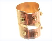 Riveted Brass & Copper Ring Wide Band Industrial Two Tone Look