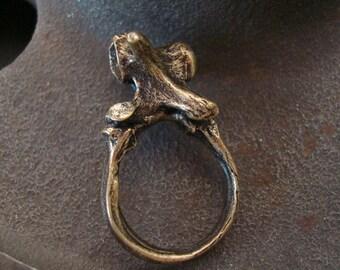 Gothic, Bone & Vertebra Ring, Skeleton Jewelry, USA, Handmade, Realistic Bone, Ring, Brass Ox Finish
