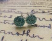 Tiny Glittering Blue Dots Plastic Post Earrings