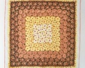 Vintage Autumn Floral Handkerchief - Yellow Orange and Brown on White Linen