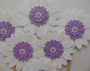 Flower Cupcake Toppers - Lavender and White Daisies - Birthday Parties - Bridal Showers - Weddings - Baby Showers - Set of 6