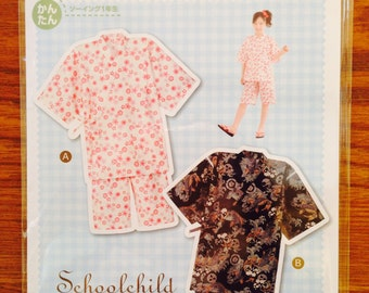 Schoolchild Japanese Jinbei Kimono Full-Size Pattern Sheet