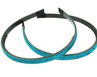 """2 pieces - 10mm (3/8"""") Glitter Lined Headband with Teeth in Turquoise - Hair Accessories"""