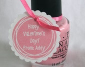 Valentine's Day Tags for Nail Polish or other small gift - Nice party favor - Pretty Pink- Great for a girlfriend or classmate.
