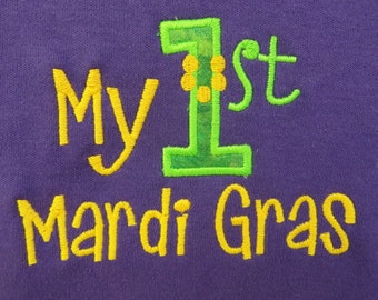 My First Mardi Gras Purple Baby Bodysuit Purple