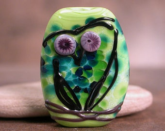 Lampwork Glass Owl Focal Bead Sketchy Owl Series Lime Greens & Blues Divine Spark Designs SRA