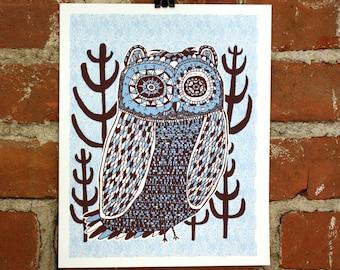 night owl blue 8x10 screenprint art print