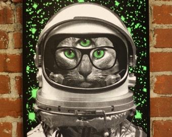 Space Kitty - glow in the dark screenprint