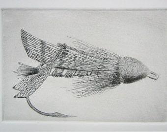 Fly Fishing Original Etching, Hopper, fly fishing art