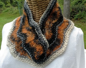 Cowl,handknit cowl in wool and mohair yarn knitted in my own design